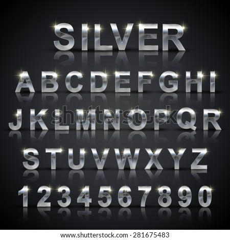 glossy silver font design set over black background - stock vector