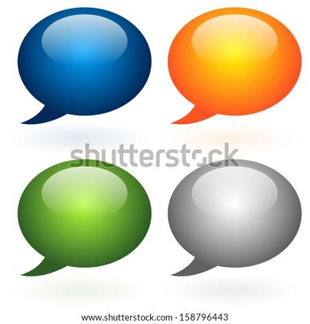 Glossy speech, talk bubble set. Dialog, discussion, social, idea design element. - stock vector