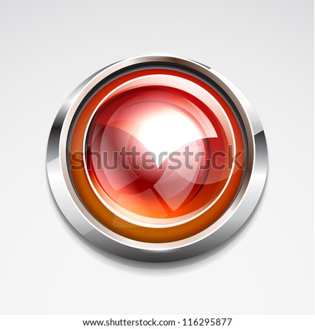 Glossy sphere button - stock vector
