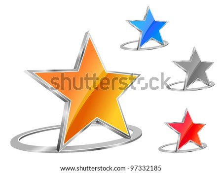 Glossy star emblem for business or icon design. Jpeg version also available in gallery - stock vector