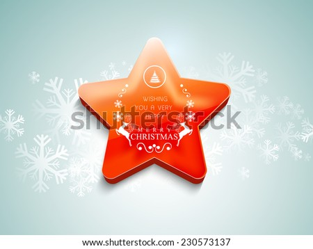 Glossy star with text and wishing message for Merry Christmas celebration on snowflake decorated background. - stock vector