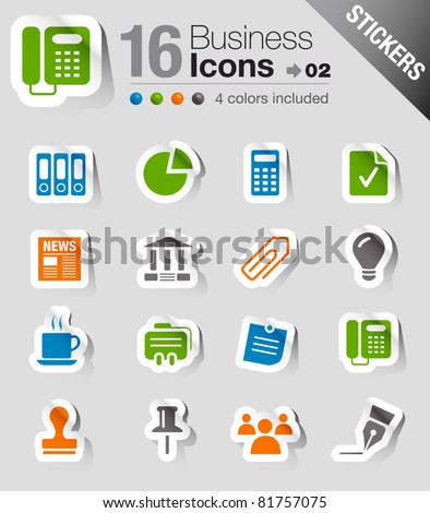 Glossy Stickers - Office and Business icons - stock vector