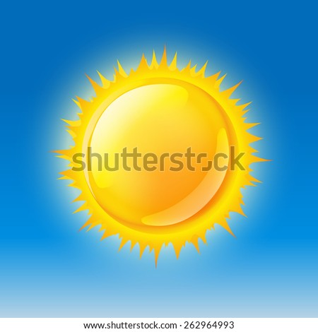glossy sun on blue sky. vector illustration - stock vector