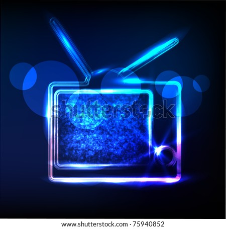 glossy tv sign - stock vector