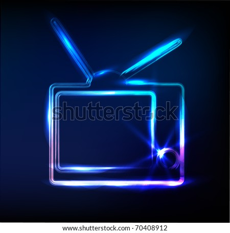 glossy  tv sign, vector - stock vector