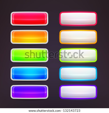 Glossy vector button set, rectangle shaped with rounded corners - stock vector