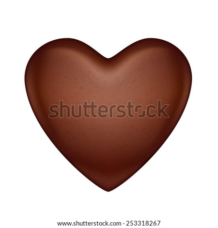Glossy vector chocolate heart bonbon. Good for Valentine' day design. - stock vector