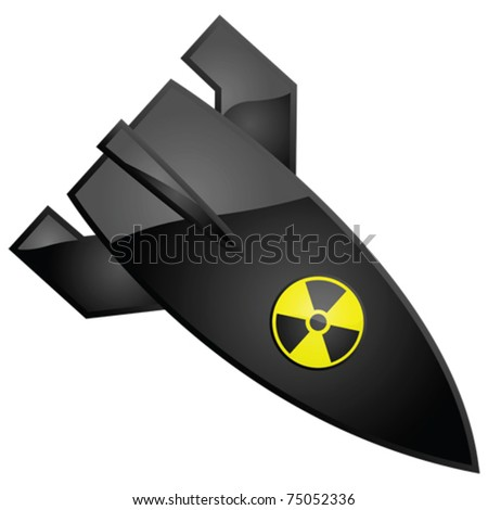 Glossy vector illustration of a nuclear bomb, with the radioactivity sign painted on it - stock vector