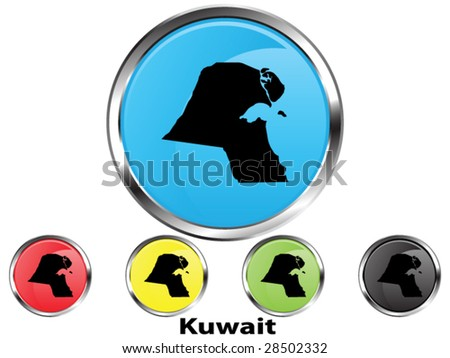 Glossy vector map button of Kuwait - stock vector