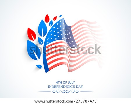 Glossy waving American national flag design with red and blue leaves for 4th of July, Independence Day celebration. - stock vector