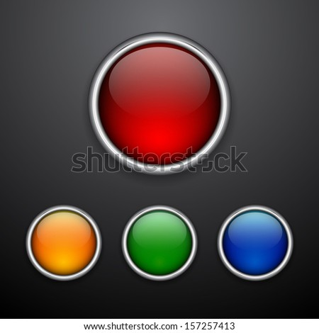 Glossy web buttons set. Vector illustration - stock vector