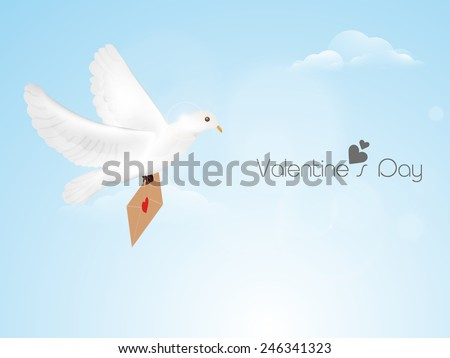 Glossy white pigeon holding love letter and flying in the sky for Happy Valentines Day celebration. - stock vector