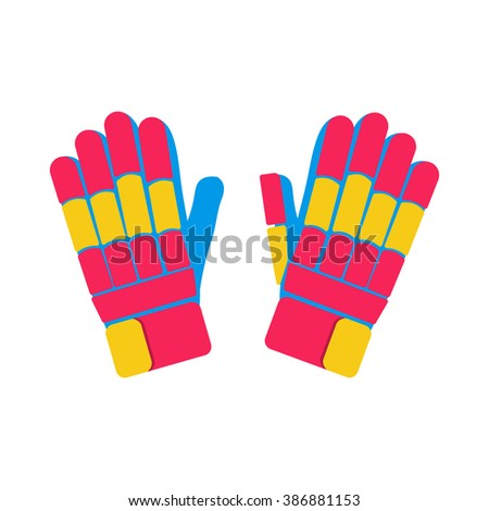 Gloves cricket illustration. Gloves for cricket on white background. Gloves vector. Pitch illustration. Batting Gloves isolated vector.  - stock vector