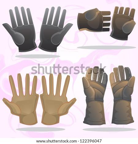 gloves set isolated on white - stock vector
