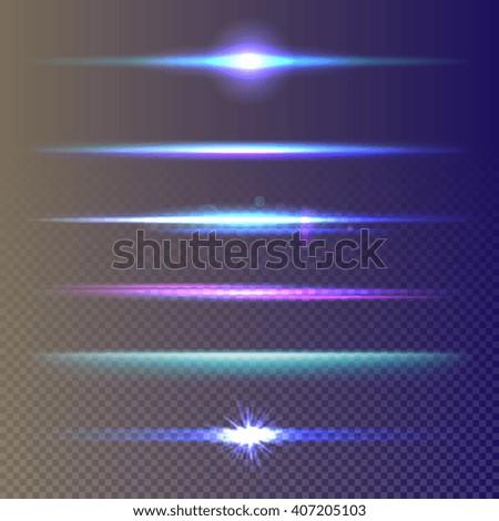Glow effect. Blue light effect. Lens glow effect. Magic glow light. Neon glow effect. Neon blur lines. Shine effect. Sparkles effect. Glow luminescence. Realistic lighting effect. Shine, stripe, glare - stock vector