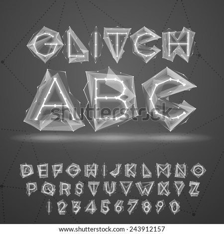 Glow low poly glitch font. - stock vector