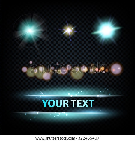 Glow sparks collection over dark background, containes tranparencies. Vector illustration. - stock vector