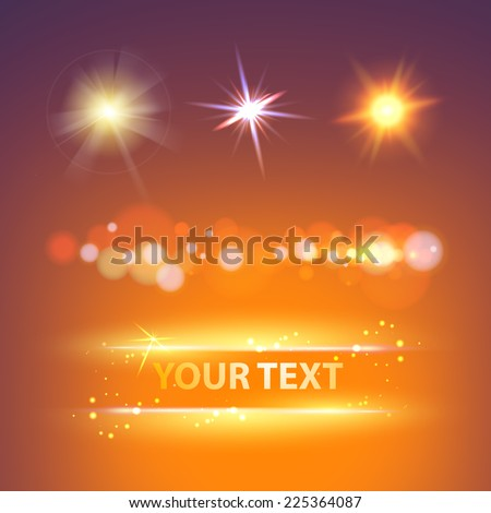 Glow sparks collection over night sky. Vector illustration. - stock vector