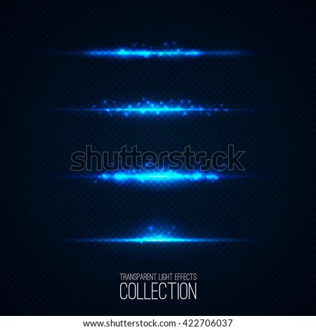 Glowing blue light effects collection isolated on transparent. Abstract realistic Sci Fi highlights . Creative , modern concept . Vector illustration . Glowing particles . luminous object set - stock vector