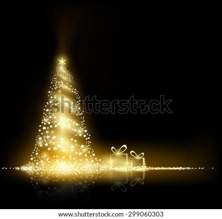 Glowing Christmas tree. Christmas card. Vector Image Stock. - stock vector