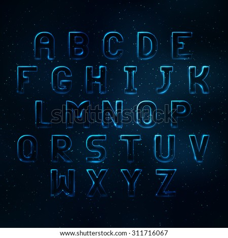 Glowing cosmic neon font. Shiny capital letters latin alphabet - stock vector