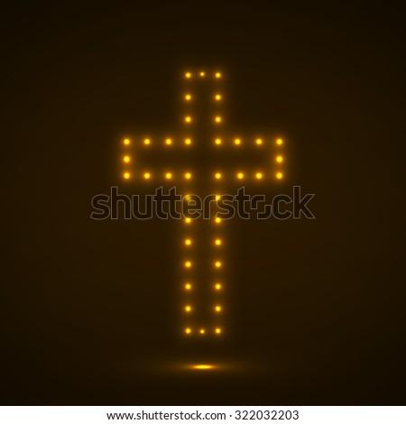Glowing cross. Christian Symbol. Vector illustration. Eps 10 - stock vector