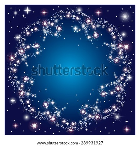Glowing dark background with round frame sparkle stars  - stock vector