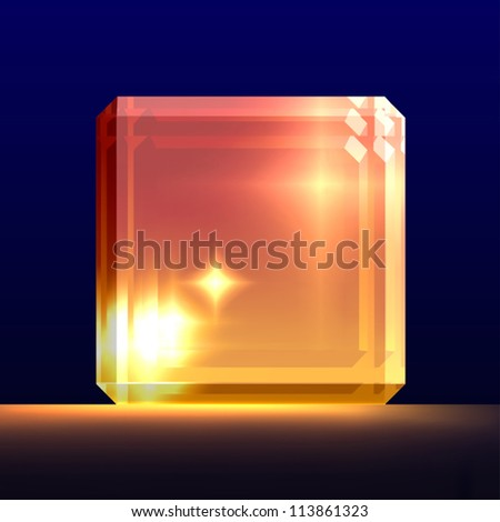 Glowing glass cube. - stock vector