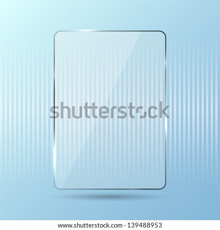 Glowing glass panel on a blue background, illustration. - stock vector
