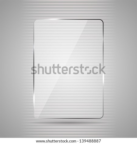 Glowing glass panel on a gray background, illustration. - stock vector