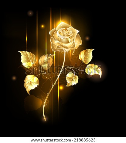 Glowing golden rose on a black background - stock vector