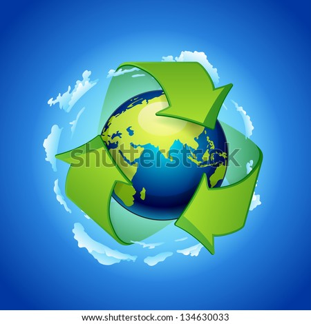 Glowing green planet Earth inside recycling symbol. recycle arrows earth - stock vector
