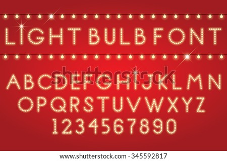 glowing letters font light bulbs - stock vector