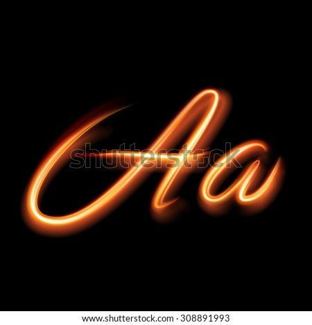 Glowing light letter A. Hand lighting painting - stock vector