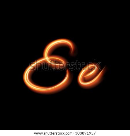 Glowing light letter E. Hand lighting painting - stock vector