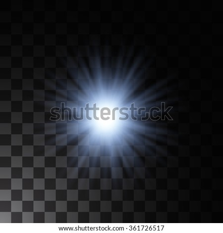 Glowing light star and sparkle. Isolated on transparent background. Vector illustration - stock vector
