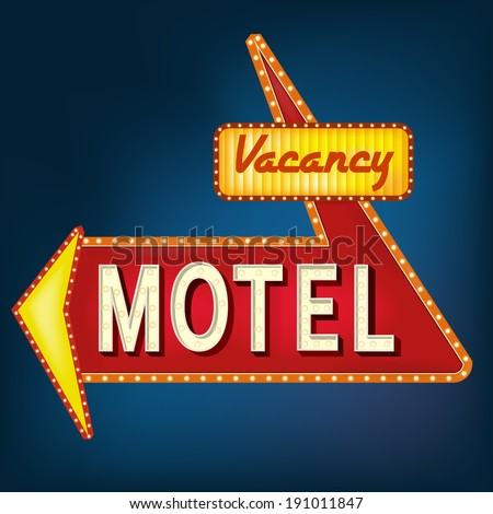 Glowing motel sign with light bulbs - stock vector