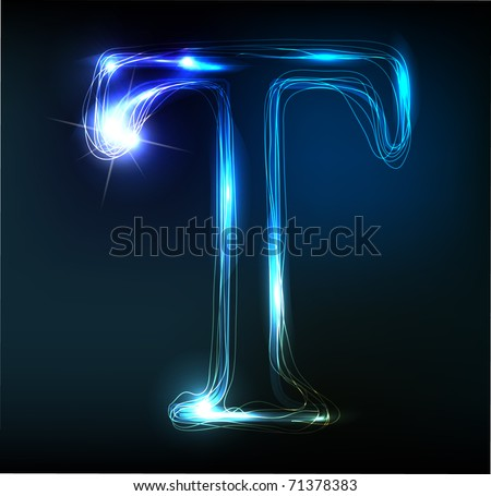 Glowing neon font. Shiny letter T - stock vector