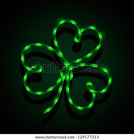 Glowing neon sign - Shamrock. Vector illustration. - stock vector