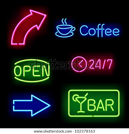 Glowing neon signs. Vector illustration. - stock vector