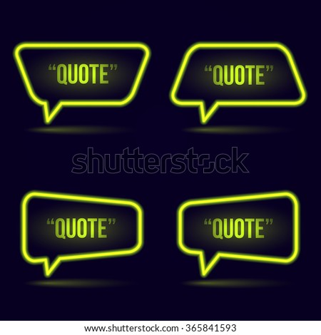 Glowing neon speech bubble icon for text quote. Vector blank template - stock vector