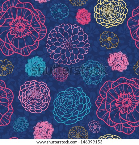Glowing night flowers seamless pattern background - stock vector