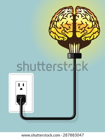 Glowing plugged in brain Vector - stock vector