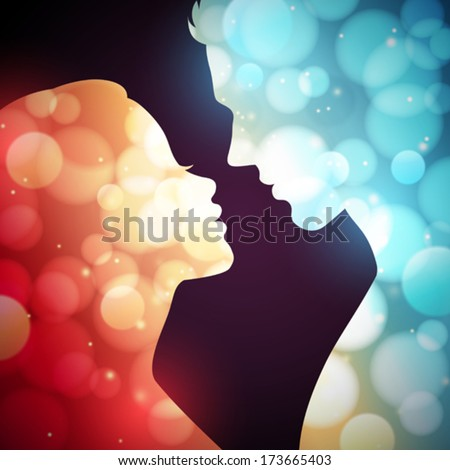 Glowing silhouettes of a man and woman - stock vector