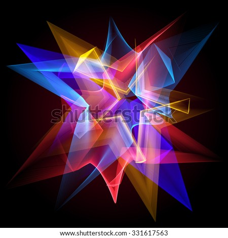 Glowing star and blending colors in dark space. Vector illustration. Abstract background. - stock vector