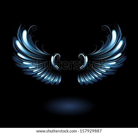 glowing, stylized angel wings on a black background. - stock vector
