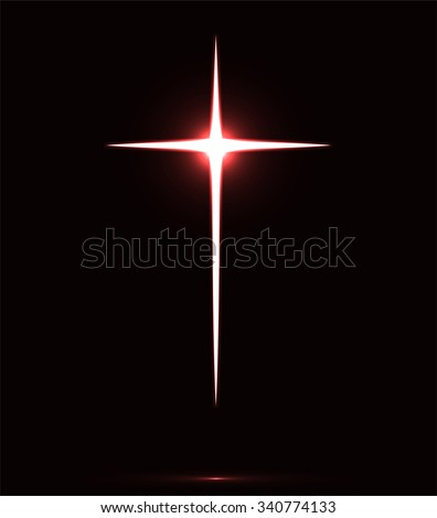 Glowing white Christian cross vector illustration isolated over black background. Holy cross drawing symbolizing Jesus Christ sacrifice - stock vector