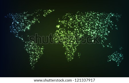 Glowing world map formed by mess of illuminating sparkles. EPS10 vector. - stock vector