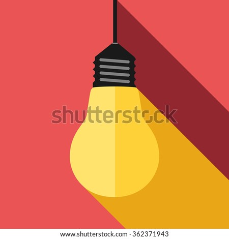 Glowing yellow lightbulb, long light and shadow on red. Inspiration, insight, aha moment, inspired, creativity, invention, idea, innovation concept. EPS 8 vector illustration, no transparency - stock vector