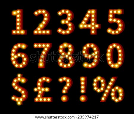 Glowing Yellow Orange Numbers and Symbols Isolated on Black Background - stock vector